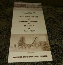 State Museum Vernal Utah Field House Natural History Land Of Yesterday Brochure