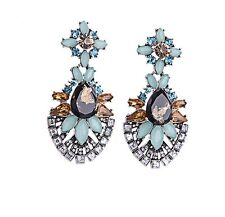 E971 Betsey Johnson Royal Blue Crystal Gemstone Bridal Moon Stone S Earrings US