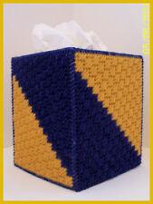 NAVY BLUE GOLD HANDMADE PLASTIC CANVAS TISSUE BOX COVER TOPPER