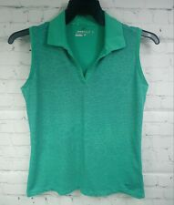 Nike Golf Size Medium Womens Dri-Fit  Polo Shirt Sleeveless Green Striped Collar