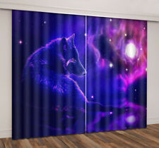3D Printing Window Curtains Blockout Drapes Fabric Wolf Stars Galaxy Universe