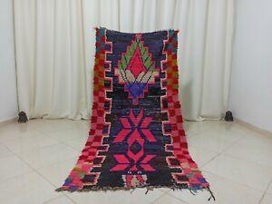 "Handmade Vintage Moroccan Rug,3'08""x6'62"" Feet,Berber Azilal Nomad Carpet"