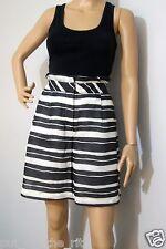 VERONIKA MAINE size 10 high waisted black & white striped SKORT / SHORTS