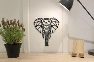 Geometric Elephant Head Face- Wall Art Decoration Animal Colour Black/White Gift
