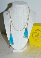 NWT $120 Kendra Scott 'Monique' Tassel Pendant Necklace Turquoise Gold Plate