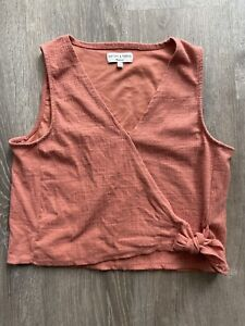 texture and thread madewell orange sleveless top size m