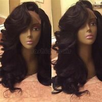 100% Brazilian Human Hair Lace Front Wig Full Lace Wigs Pre Plucked Body Wave 1B