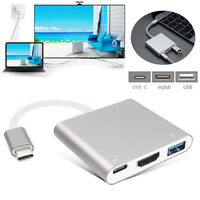 3in1 Type-C to 4k HD HDMI USB3.0 USB-C Charging Port Adapter UBS 3.1 For MacBook
