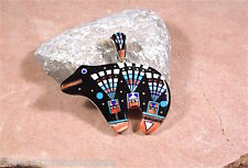 925 Sterling Silver Multi Stone, Black Onyx, Spiny Oyster Inlay Bear Pendant