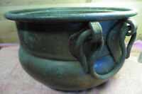 Antique Vtg Brass Pot with cast iron gothic heavy duty handles Hand Hammered