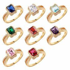 Retangle Gemstone Sapphire Yellow Gold Filled Lady Wedding Jewelry Finger Rings