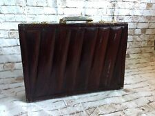 Presto Vintage Distressed Eel Skin Briefcase Attache Leather Case Brown Combo