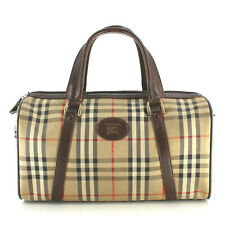 Authentic Burberry Haymarket Vintage Boston Speedy Duffle Bag in Brown Checked