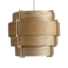 Modern Wood Veneer 4 Tiered Ceiling Pendant Light Shade Drum Lampshade Lighting