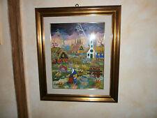 dipinto olio su tela naif firmato Anna Maria D'Alessandro
