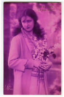 1920s French Deco Glamor Pretty LONG HAIRED BEAUTY Lady photo postcard
