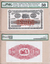 V RARE: 1944 £20 Provincial Bank of Ireland Limited, Northern Ireland. PMG AU50!
