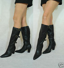 Women Black Knee High Boots Real Leather Padded Bucked Belt Janet D size 6,5