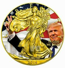 2016 1 Oz Silver American Eagle DONALD TRUMP Coin - 24kt Gold Gilded..ON HANDS.