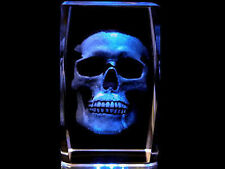 "3"" 3D  Laser Crystal Halloween Skull with +  Free Light Base"