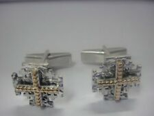 Sterling Silver Cuff links Jerusalem Cross