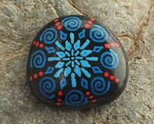 Hand Painted Alchemy Beach Stone with Blue & Red Snowflake Spiral Design