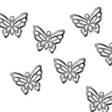Lot of 50 Dark Silver Gunmetal 3/4 inch Flying Butterfly Bug Dangle Drop Charms