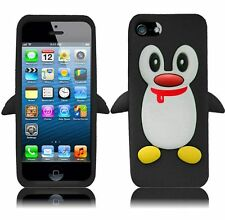 For Apple iPhone 5 5S SE Rubber SILICONE Soft Gel Skin Case Cover Penguin Black