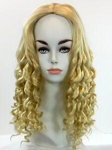Long Full Wig Corkscrew Spiral Curls Kanekalon Fiber Skin Top Center Parting