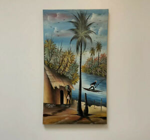 ORIGINAL OIL PAINTING on Canvas OMAGON African Scene Picture Lake Mud Hut