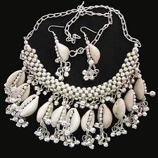 Cowrie Sea Shell Necklace Choker Metal Silver Banjara Kuchi Boho Fashion Jewelry