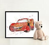 CARS Disney Print Poster Watercolor Framed Canvas Wall Art Nursery Illustration