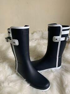Hunter Boots Refined Slim Fit Contrast Short Rain Boots: Navy/White  Women SZ 8