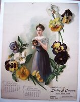 "One Page of 1900 Calendar for ""Darling & Company"" w/Lovely Woman & Pansies  *"