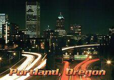 Evening Commute in Portland Oregon, Downtown Skyline, Street Signs etc. Postcard