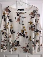 Sanctuary Women's Cream Floral Shirt Blouse Top Ruffle Sleeves - Size Small -NWT