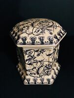 Wong Lee 1895 Covered Hexagonal Biscuit Jar with Cupid's, Vines, Crackle Glaze
