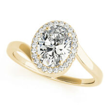 14K Yellow Gold Wedding Rings 0.70Ct Real Diamond Engagement Oval Cut