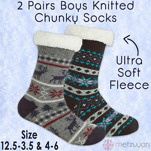 2 Pairs Kids Teens Boys Chunky Cosy Slipper Socks Sherpa Fleece Anti Slip Grips