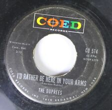 Rock 45 The Duprees - I'D Rather Be In Your Arms / I Wish I Could Believe You On