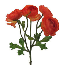 Kunstblume RANUNKEL  28 cm. Seidenblume mit 5 Blüten Ranunkeln ORANGE 3016161-70