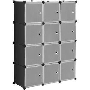 12-Cube Storage Shelves, DIY Plastic Closet Cabinet Bookcase Shelving with Doors