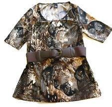 New Directions Size PL Animal Peacock Print Belt Shirt Petite