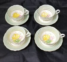 Victoria Bone China: Set of 4, Tea Cup & Saucer, C&E, Pink Rose Yellow, England