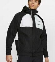 NIKE Sportswear Swoosh Hooded Black White Woven Jacket Men's Size 2XL CJ4888-011