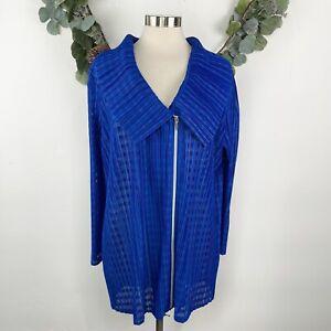 Chico's Travelers Jacket Blazer Size 3 =16/18 XL Accordion Pleat Open Knit Blue
