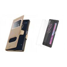 Film verre trempe + Housse Etui Coque Fenetre Or Gold pour Sony Xperia XA