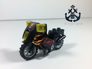 Lego Minifigure Motorcycle City Black Chassis, LBG Wheels with Flames