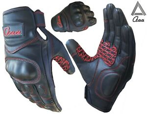 Motorbike Motorcycle Real Leather Gloves Knuckle Protection Touch Screen