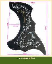Hummingbird Acoustic Guitar Pickguard Adhesive Pick Guard Scratch Plate Black